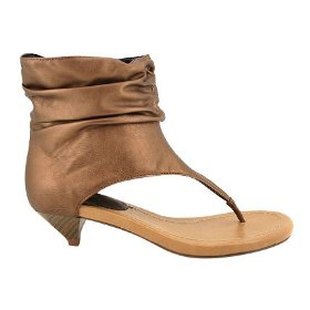 bronze gathered ankle sandals